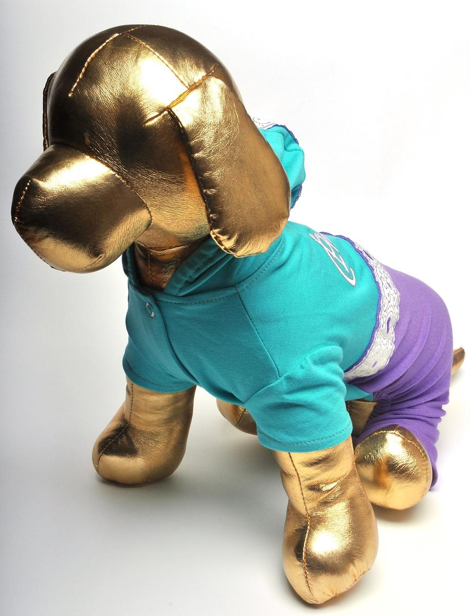 Комбинезон для собак GLG, цвет: бирюзовый. Размер S12171996Комбинезон для собак GLG выполнен из высококачественного текстиля, комфортного при движении. Короткие рукава не ограничивают свободу движений, и собачка будет чувствовать себя в нем комфортно. Изделие застегивается с помощью кнопок. Модный и невероятно удобный комбинезон защитит вашего питомца от насекомых на улице, согреет дома или на даче.