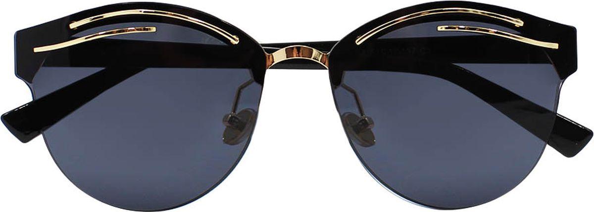 Очки солнцезащитные женские Taya, цвет: черный. S-O-0095INT-06501Кошачий глаз, ультрафиолетовый фильтр, зеркальные. Габариты предмета: высота линзы 5,4 см; ширина линзы 6,0 см; длина дужки 13,0 см