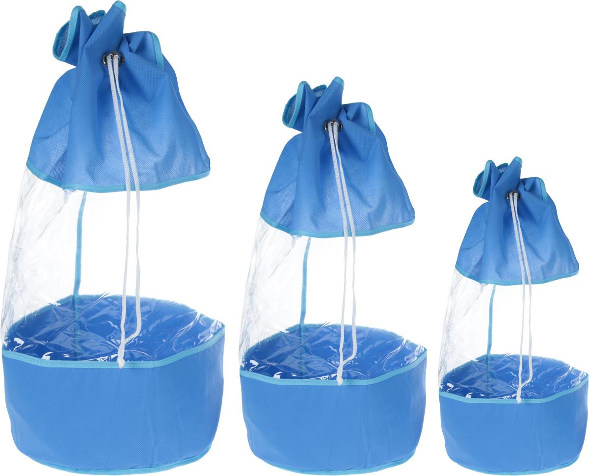 Набор мешочков Все на местах Sunny Jungle, детский, цвет: голубой, 3 шт1074023.Набор мешочков Все на местах Sunny Jungle выполнен из прочного ПВХ и дышащего материала, состоит из трех мешочков разных размеров: 60 см х 25 см, 50 см х 20 см, 40 см х 15 см. Мешочки затягиваются шнурком с фиксатором.Мелкие детские предметы хранить теперь просто.