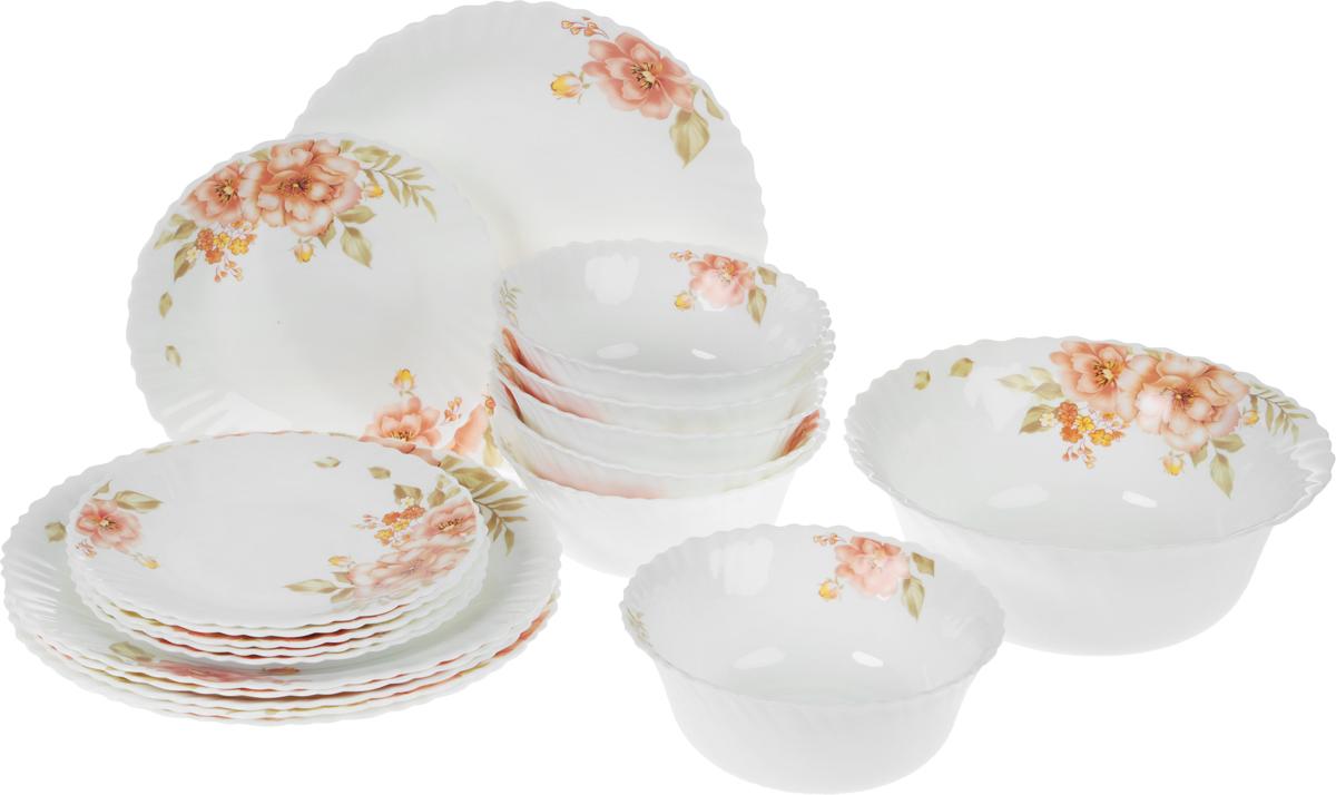 Набор столовой посуды Mayer & Boch, 19 предметов. 2410224102Столовый набор Mayer & Boch состоит из шести суповых тарелок, шести десертных тарелок, шести обеденных тарелок и одного салатника. Предметы набора выполнены из стекла, благодаря чему посуда будет использоваться очень долго, при этом сохраняя свой внешний вид. Набор создаст отличное настроение во время обеда, будет уместен на любой кухне и понравится каждой хозяйке. Красочное оформление предметов набора придает ему оригинальность и торжественность. Практичный и современный дизайн делает набор довольно простым и удобным в эксплуатации.Предметы набора можно мыть в посудомоечной машине, использовать в микроволновой печи и холодильнике.Диаметр суповой тарелки: 17,8 см.Высота суповой тарелки: 7 см.Диаметр обеденной тарелки: 25,4 см.Высота обеденной тарелки: 2,5 см.Диаметр десертной тарелки: 19 см.Высота десертной тарелки: 2,5 см.Диаметр салатника: 22,9 см.Высота салатника: 9 см.