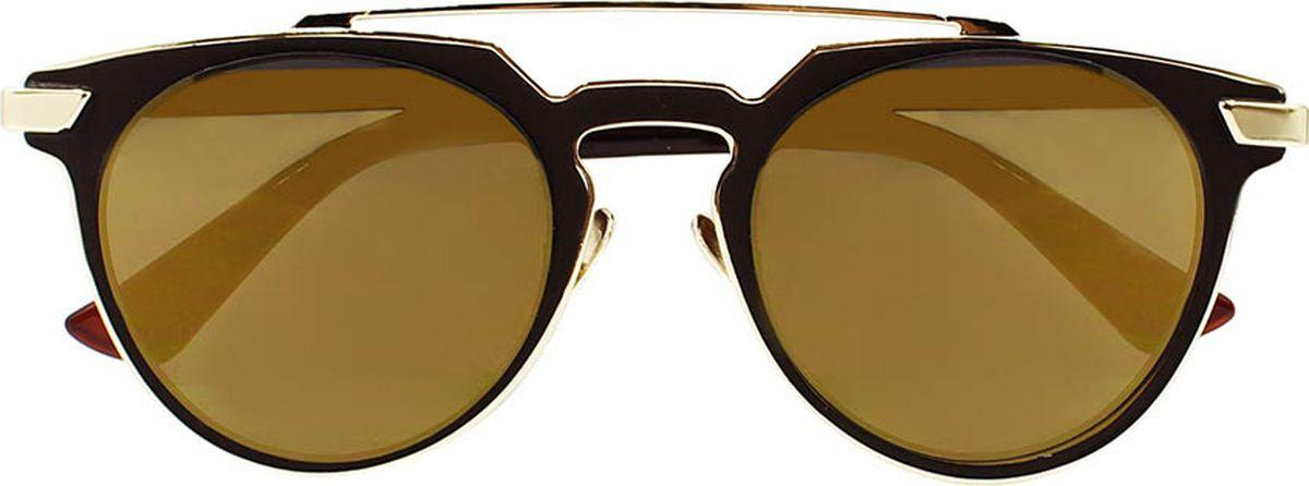 Очки солнцезащитные женские Taya, цвет: золотистый, коричневый. S-O-0100EQW-M710DB-1A1Стильные солнцезащитные очки-броулайнеры Taya прекрасно подходят для повседневной носки и отдыха. Очки с высокоэффективным ультрафиолетовым фильтром защитят ваши глаза от ультрафиолета, повреждений и ярких солнечных лучей. Очки Taya – это эффектный аксессуар, который станет изюминкой вашего индивидуального стиля.Категория: 2. Пропускают 18-43% света.