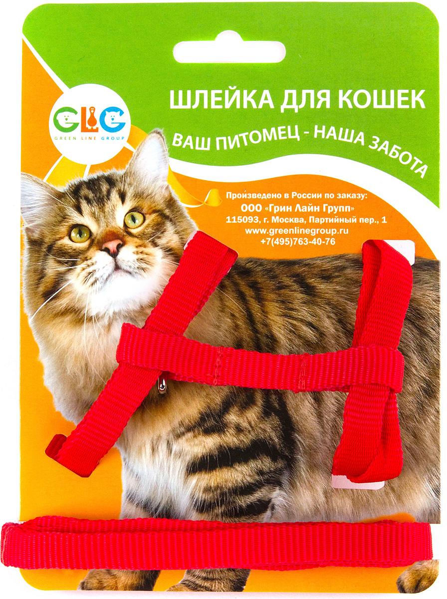 Комплект для кошек GLG Восьмерка: шлейка, поводок, 2 предмета0120710Комплект для кошек-(шлейка+поводок) нейлон, размер-обхват шеи- максимально 32 см, обхват груди максимально 54см, ширина шлейки1х1200см-длина поводка,