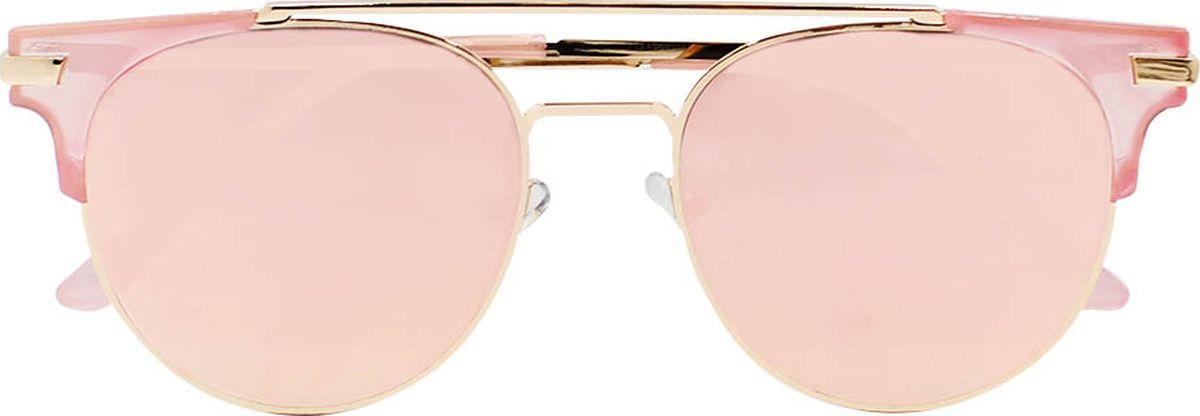 Очки солнцезащитные женские Taya, цвет: золотистый, розовый. S-O-0114BM8434-58AEСтильные солнцезащитные очки-броулайнеры Taya с зеркальными линзами прекрасно подходят для повседневной носки и отдыха. Очки с высокоэффективным ультрафиолетовым фильтром защитят ваши глаза от ультрафиолета, повреждений и ярких солнечных лучей. Очки Taya – это эффектный аксессуар, который станет изюминкой вашего индивидуального стиля.Категория: 3. Пропускают 8-18% света.