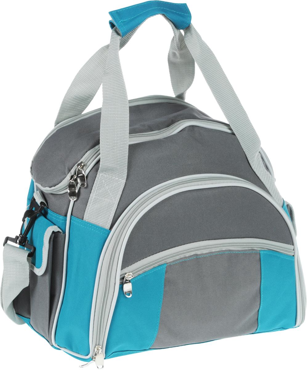 Набор для пикника Green Glade, цвет: серый, голубой, 30 предметов. T3207S28 DCНабор для пикника Green Glade рассчитан на 4 персоны. Предметы набора хранятся во вместительном отделении удобной сумки с регулируемой лямкой и ручками. У сумки одно большое отделение с термоизоляционным слоем. Также имеются два кармашка по бокам, закрывающиеся на липучку, и один кармашек спереди. Все отделения закрываются на застежки-молнии.Все предметы набора надежно фиксируются внутри сумки специальными эластичными фиксаторами. В набор входит: - изотермическая сумка-холодильник: 1 шт, объем: 10 л, размер 40 см х 37 см х 17 см, - ножи: 4 шт, длина 20,5 см, - вилки: 4 шт, длина 19 см, - ложки: 4 шт, длина 19 см, - бокалы пластиковые: 4 шт, объем: 200 мл, - тарелки пластиковые: 4 шт, диаметр 22,5 см, - салфетки хлопковые: 4 шт, - солонка: 1 шт, - перечница: 1 шт, - складной нож со штопором и открывалкой: 1 шт, длина 16,5 см, - нож для сыра/масла: 1 шт, длина 19 см, - пластиковая разделочная доска: 1 шт, размер 15 см х 15 см х 0,5 см.Набор для пикника Green Glade обеспечит полноценный отдых на природе для большой компании или семьи. Сумка холодильник поможет сохранить свежесть ваших продуктов до 12 часов (при использовании аккумулятора холода).