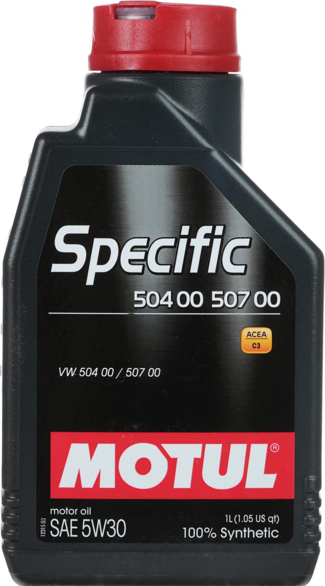 Масло моторное Motul Specific 504 00-507 00 VW, синтетическое, 5W-30, 1 л10503Моторное масло для бензиновых и дизельных двигателей Volkswagen. 100% синтетическое. Специально разработано для новых автомобилей группы VAG (VW, Audi, Skoda, Seat), оснащенных двигателями, соответствующими требованиям нормы Евро IV и Евро V (сниженное содержание серы, фосфора, сулфатированной золы). Motul Specific 504.00 - 507.00 5W30 может использоваться во всех двигателях, требующих использования масла, соответствующего нормам VW, предшествующих 502 00, 505 00, 505 01, 503 00, 503 01, 506 00, 506 01. Интервалы замены масла остаются фиксированными (15 000 км) для всех автомобилей, в которых предусмотрено использование масла отвечающего требованиям норм VW 502 00, 505 00, 505 01 в том числе и для автомобилей, в которых используется Motul Specific 504.00 - 507.00 5W-30. При возникновении сомнений в правильности выбора моторного масла ознакомьтесь с руководством пользователя. Внимание: Для Touareg R5 и V10 TDI, выпущенных с мая 2003 по май 2007 использовать только Motul Specific 506.01 - 506.00 - 503 00 0W-30.