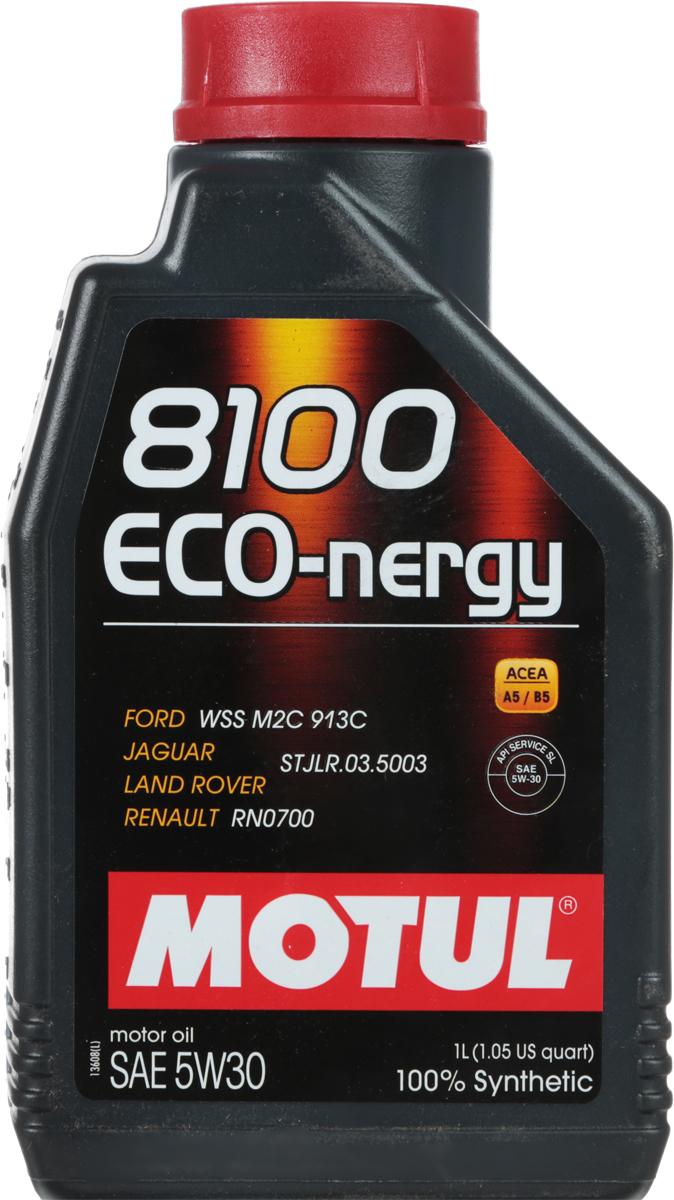Масло моторное Motul 8100 Eco-nergy, синтетическое, 5W-30, 1 л102782100% синтетическое моторное масло для бензиновых и дизельных двигателей. Энергосберегающее. Энергосберегающее 100% синтетическое моторное масло. Специально разработано для мощных современных бензиновых и дизельных двигателей автомобилей, в том числе с непосредственным впрыском, для которых предусмотрено использование масел с низкой высокотемпературной вязкостью в условиях высоких скоростей сдвига (HTHS). Предназначено для бензиновых и дизельных двигателей, созданных по новым технологиям, для которых предписаны масла Fuel Economy (ACEA A1/B1 и А5/В5). Совместимо с системами нейтрализации отработавших газов. ACEA Стандарты: ACEA A5/B5API Стандарты: API SL/CFОдобрения: FORD WSS M2C 913D; Jaguar Land Rover STJLR.03.5003; Renault RN0700