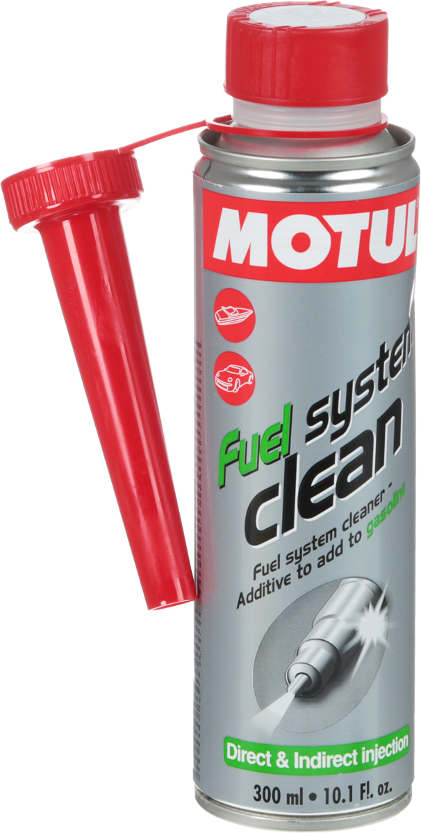 Промывка Motul Fuel Clean Auto, 300 мл. 104877S03301004Очиститель топливной системы, присадка в топливо для двигателей автомобилей, оборудованных системой впрыска и карбюраторных Motul Fuel System Clean разработано для использования в карбюраторных или впрысковых, двигателях, с каталитическим нейтрализатором и без, использующих любой тип бензина. Motul Fuel System Clean эффективно очищает загрязнения и отложения, образующиеся в топливной системе:- конденсат в топливной системе;- отложения в карбюраторе;- засорение форсунок;- загрязнения камеры сгорания и выпускных клапанов. Motul Fuel System Clean обеспечивает смазку поверхностей во время очистки и предотвращает повторное отложение удаленных частиц загрязнения.