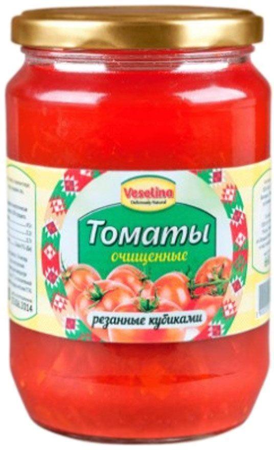 Veselina томаты кубиками очищенные в собственном соку, 680 г0120710Томаты марки Веселина - это консервы из экологически чистого продукта, приготовленные без использования искусственных добавок, консервантов и красителей. Прекрасный томатный вкус и аромат достигается благодаря отборным, зрелым плодам помидоров, выращенных на плодородных землях Болгарии. Применение таких консервированных очищенных томатов ограничивает только ваша кулинарная фантазия. Можно приготовить салат, приправленный оливковым маслом, черным перцем и кусочками брынзы, или добавлять при приготовлении различных блюд в качестве томатного соуса или кусочками помидоров.Богатое содержание калия обуславливает пользу томатов в профилактике сердечных заболеваний, в нормализации процессов обмена. Помидоры, кроме того, содержат ликопин – пигмент, придающий им ярко-красный цвет. Он имеет мощные антиоксидантные свойства, и предотвращает развитие раковых клеток, причем свойства эти сохраняются даже при пастеризации. Томатный сок вызывает в организме выработку серотонина – гормона радости, тем самым помогая снять последствия стресса и нервное напряжение. Консервированные томаты марки Веселина разнообразит ваш рацион во время поста или при диетическом режиме питания.