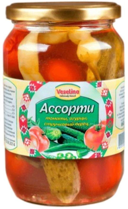 Veselina ассорти томаты огурцы стручковый перец, 680 г3800500082066Ассорти Веселина - это отличная комбинация трех вкусных и любимых овощей на вашем столе. А польза очевидна, так как:калий, полезный нашему сердцу, содержится в количестве 237 мг всего в одном помидоре, огурцы богаты сложными органическими веществами, которые играют важную роль в обмене веществ, стручковый перчик снабжает наш организм витаминами Е, А, С и микроэлементами, и помогает нам бороться с лишним весом.Ассорти Веселина - незаменимая закуска по любому поводу. Быстро и вкусно разнообразит ваше меню. Традиционные консервы.