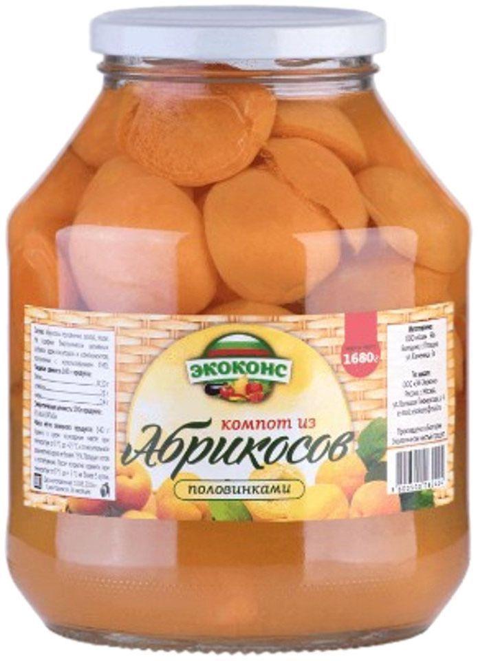 Экоконс компот из абрикосов половинками, 1,7 л24Яркие оранжевые плоды, похожие на маленькое солнце, очень полезны для здоровья. Высокое содержание калия в плодах абрикоса способствует улучшению сердечной функции, при регулярном его употреблении, а магний помогает улучшить память.
