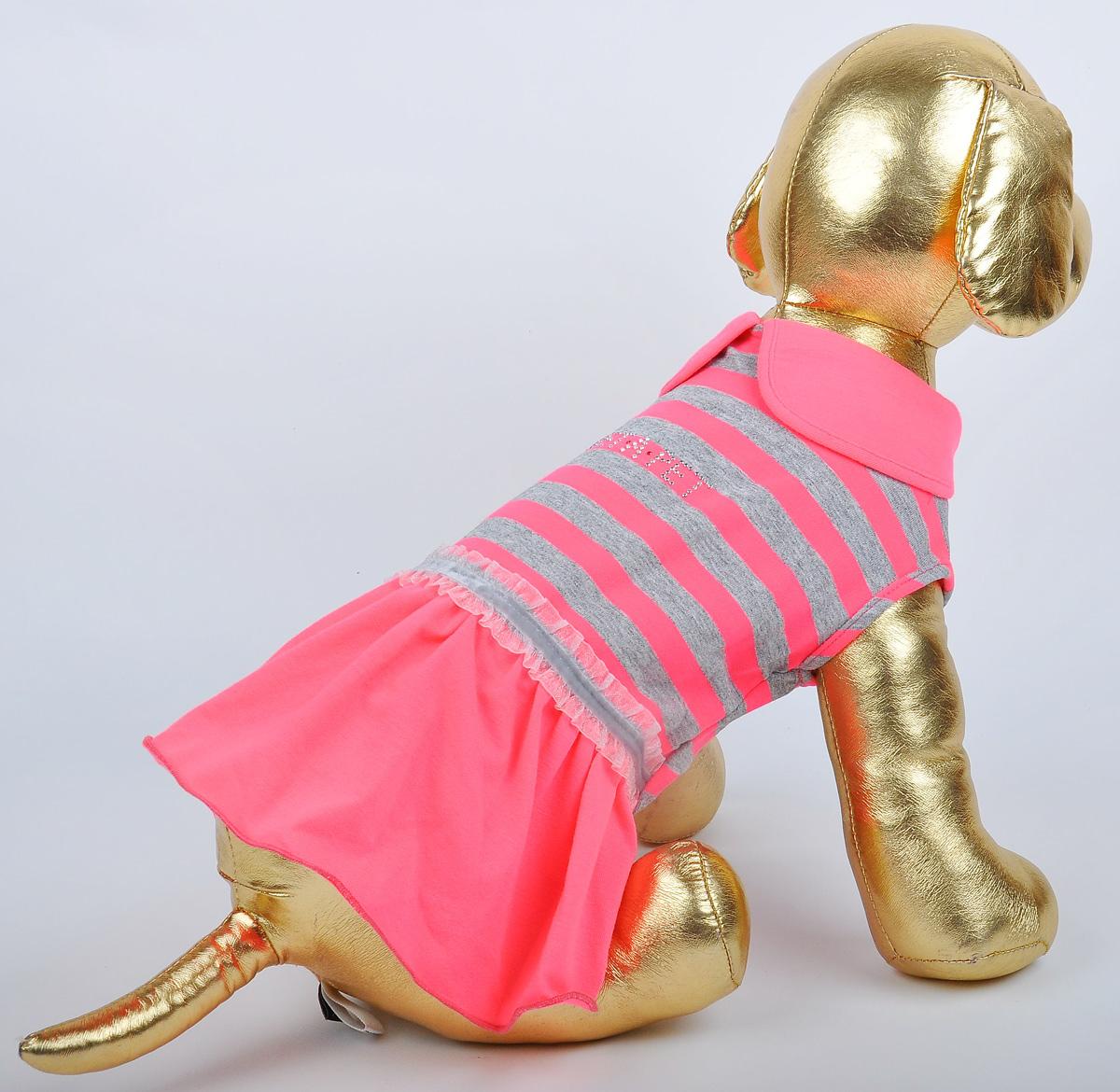 Платье для собак GLG Фэшн Ультра. Размер S0120710Платье для собак GLG Фэшн Ультра выполнено из вискозы. Рукава не ограничивают свободу движений, и собачка будет чувствовать себя в нем комфортно. Изделие застегивается с помощью кнопок..Модное и невероятно удобное платье защитит вашего питомца от пыли и насекомых на улице, согреет дома или на даче. Длина спины: 23-25 см Обхват груди: 31-33 см.Платье для собак Фэшн Ультра, цвет розовый, материал- вискоза х/б, размер-S, длина спины23-25см, объем груди-31-33см.