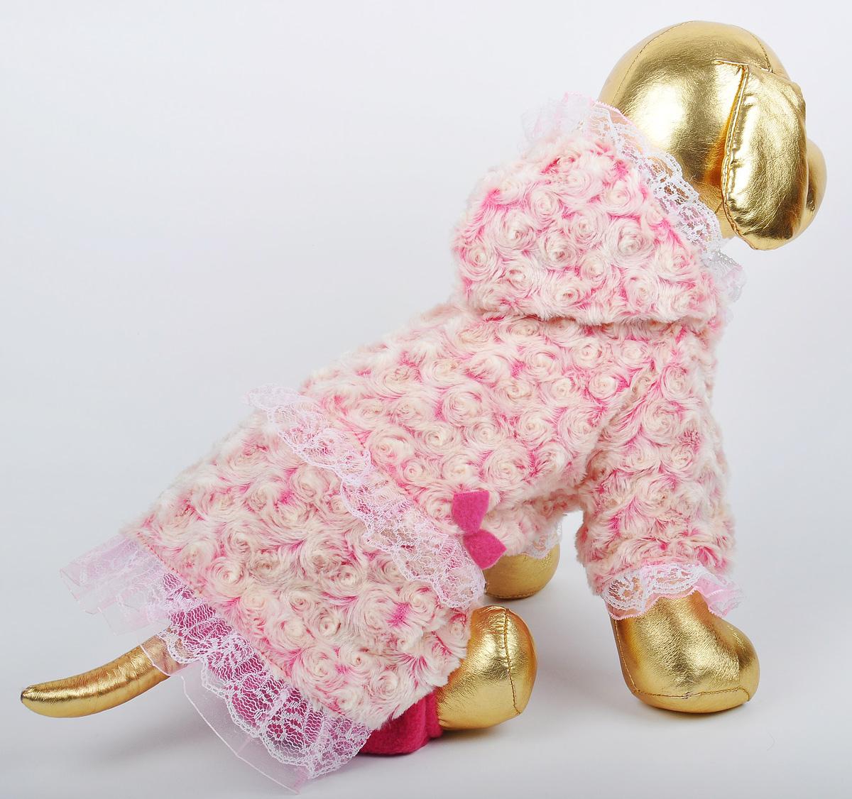 Шубка для собак GLG, цвет: розовый. Размер MDM-160331_бежевыйШубка для собак GLG выполнена из полиэстера и синтепона. Длинные рукава не ограничивают свободу движений, и собачка будет чувствовать себя в нем комфортно. Изделие застегивается с помощью кнопок..Модная и невероятно удобная шубка защитит вашего питомца от прохладной погоды .Длина спины: 27-29 см Обхват груди: 37-39 см.