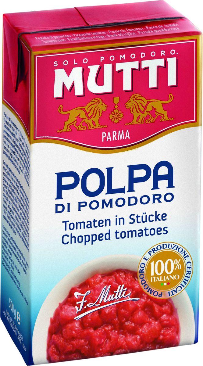 Mutti Томаты резаные кубиками в томатном соке, 500 г2641Томаты резаные кубиками в томатном соке Мутти изготавливаются без использования добавок и консервантов, что позволяет продукту сохранять оригинальные органолептические качества. Высокая однородность продукта позволяет ему равномерно смешиваться с блюдом и подчеркнуть вкус основного блюда. Томаты Polpa используются как для приготовления горячих блюд, так и в сыром виде. Идеально сочетается с макаронными изделиями, благодаря насыщенному вкусу, Polpa идеально подходит для приготовления блюд в духовке. История компании Мутти началась в 1899 году, в регионе Эмилия Романья, которая с давних времен славится своей изысканной кухней.Компания Мутти – производитель, прошедший путь от небольшой сельскохозяйственной фабрики до крупного производителя с мировым именем благодаря высшему качеству продукции и любви к своему делу.Превознести томат до самых его вершин… - в этой фразе раскрывается суть компании Мутти, поэтому сегодня, также как и в прошлом, с той же страстью и вниманием семья Мутти производит высококачественную продукцию, разрабатывая новые рецепты и совершенствуя вкус томатов. Семьей Мутти придумана томатная паста в тюбиках, томатный уксус, первыми были выпущены на рынок резанные кубиками томаты (polpa), секрет производства которых держится в строжайшей тайне.Компания Мутти стала первой среди производителей выпускать всю продукцию под знаком интегрированная и сертифицированная продукция.Pomodorino dOro - приз за лучший урожай. Ежегодно 200 крестьян соревнуются в качестве помидоров.
