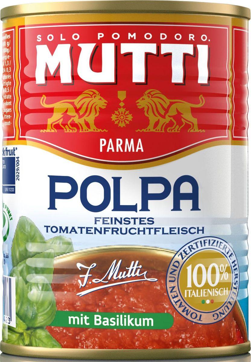 Mutti Томаты резаные кубиками в томатном соке с базиликом, 400 г0120710Томаты резаные кубиками в томатном соке с базиликом Мутти изготавливаются без использования добавок и консервантов, что позволяет продукту сохранять оригинальные органолептические качества. Высокая однородность продукта позволяет ему равномерно смешиваться с блюдом и подчеркнуть вкус основного блюда. Томаты Polpa используются как для приготовления горячих блюд, так и в сыром виде. Идеально сочетается с макаронными изделиями, благодаря насыщенному вкусу, Polpa идеально подходит для приготовления блюд в духовке. История компании Мутти началась в 1899 году, в регионе Эмилия Романья, которая с давних времен славится своей изысканной кухней.Компания Мутти – производитель, прошедший путь от небольшой сельскохозяйственной фабрики до крупного производителя с мировым именем благодаря высшему качеству продукции и любви к своему делу.Превознести томат до самых его вершин… - в этой фразе раскрывается суть компании Мутти, поэтому сегодня, также как и в прошлом, с той же страстью и вниманием семья Мутти производит высококачественную продукцию, разрабатывая новые рецепты и совершенствуя вкус томатов. Семьей Мутти придумана томатная паста в тюбиках, томатный уксус, первыми были выпущены на рынок резанные кубиками томаты (polpa), секрет производства которых держится в строжайшей тайне.Компания Мутти стала первой среди производителей выпускать всю продукцию под знаком интегрированная и сертифицированная продукция.Pomodorino dOro - приз за лучший урожай. Ежегодно 200 крестьян соревнуются в качестве помидоров.