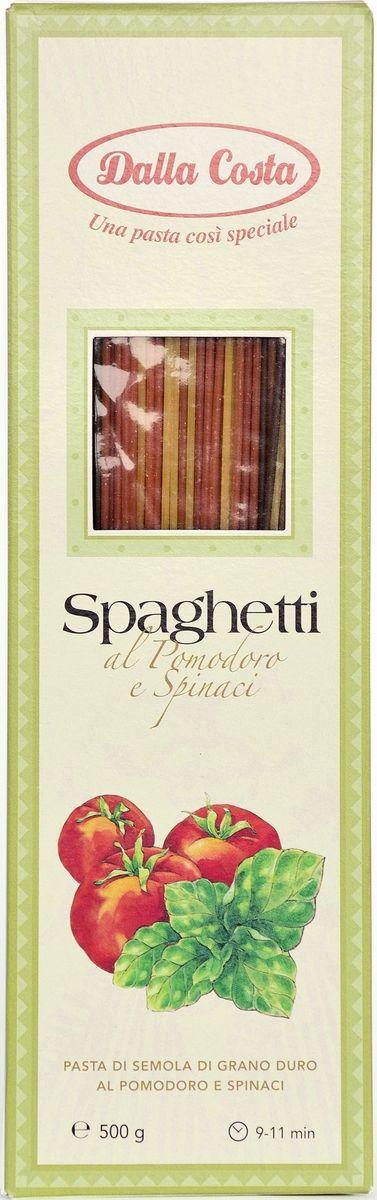Dalla Costa спагетти со шпинатом и томатами, 500 г0120710Спагетти со шпинатом и томатами Dalla Costa изготовлены по традиционному итальянскому рецепту из твердых сортов пшеницы, родниковой воды, обезвоженного шпината и томатов.Великолепны в сочетании с соусом Болоньезе, овощным соусом из баклажан, томатов-черри, цуккини и чеснока, с классическим соусом Песто. Варить в кипящей воде 9-11 минут. Семья Далла Коста бережно хранит традиции производства итальянской пасты, эдакий любовный союз, который призван удовлетворять вкусам ценителей в разных уголках света. Для того чтобы расширить ассортимент и донести ценность превосходного продукта до потребителя, Dalla Costa запустила линии трехцветной и ароматизированной пасты, в секторе производства которых компания является лидером на сегодняшний день. Постоянное стремление к более высокому качеству находит отражение в новых вкусах, богатом ассортименте, разнообразии форматов и создании новых продуктов. Компания стремится к лидерству на национальном и международном уровнях в секторе производства особой, ароматизированной и трехцветной пасты, продолжая отличаться высоким качеством продукции, широтой ее гаммы и гибкостью в возможности отвечать требованиям различных рынков.