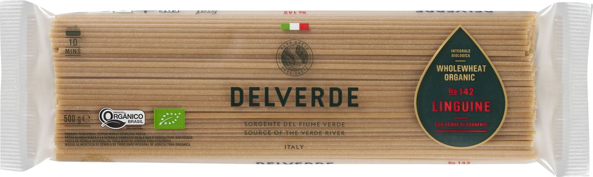 Delverde № 142 паста Лингуини Биолоджика с отрубями, 500 г0120710Лингуини Delverde Биолоджика приготовлена из экологически чистых ингредиентов, великолепна в сочетании с рыбными, овощными соусами.Компания Delverde Industrie Alimentari S.p.a начала свою историю в середине XX века в Фаре, доведя до совершенства искусство традиционного производство пасты. Традиция изготовления пасты в историческом поселении Фара Сан Мартино известна по всему миру с XVII века: именно здесь производители впервые научились искусству смешивать зерна пшеницы с чистейшей водой реки Верде. Фара Сан Мартино до сих пор славится как одна из мировых столиц пасты. С самого начала миссией компании было производить и предлагать миру высококачественные продукты из высококачественных ингредиентов. Компания Delverde до сих пор работает в соответствии с наилучшими итальянскими гастрономическими и промышленными традициями. Для приготовления пасты Delverde используются только отборные, отлично сочетающиеся друг с другом ингредиенты: чистейшая вода из реки Верде и зерна самой качественной твердой пшеницы.Варить в кипящей подсоленной воде 10 минут.