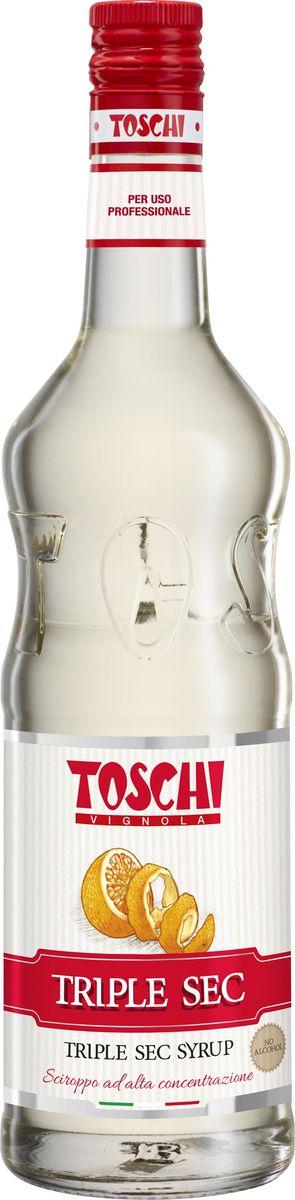 Toschi Трипл Сек сироп, 1 лМС-00000Сироп Трипл Сек Toschi отличается нотами апельсина, и пикантной горчинкой. Великолепен для приготовления коктейлей, лимонадов, добавления в чай, кофе, газированную воду, выпечку и десерты. О производителе: Компания Тоски Виньола основана в 1945 году как поставщик продуктов питания.Деятельность компании началась с производства фруктов в ликере, далее ассортимент начал включать сиропы, ликеры, вишни в сиропе Amarena, ингредиенты для мороженого и кондитерских изделий, бальзамический уксус и многое другое. За 70 лет развития компания Тоски Виньола значительно расширила ассортимент выпускаемых продуктов. Благодаря высочайшему качеству и использованию натуральных ингредиентов продукция компании Тоски Виньола известна во всем мире. В 2006 году вся продукция Тоски Виньола получила сертификат IFS (Международный пищевой стандарт). Сегодня Тоски Виньола является семейной компанией, ей управляют Джорджио Монторси и Массимо Тоски, которые бережно хранят секреты семейного производства.
