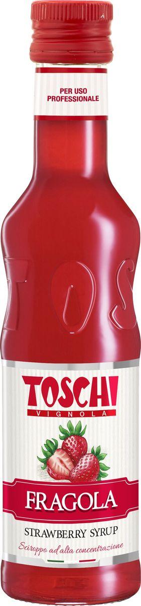 Toschi Клубника 35% сироп, 0,25 лМС-00005662Клубничный сироп Toschi отличается ярким вкусом и ароматом свежей клубники. Великолепен для приготовления лимонадов и коктейлей. Идеален в сочетании с кондитерскими изделиями и мороженым. О производителе: Компания Тоски Виньола основана в 1945 году как поставщик продуктов питания. Деятельность компании началась с производства фруктов в ликере, далее ассортимент начал включать сиропы, ликеры, вишни в сиропе Amarena, ингредиенты для мороженого и кондитерских изделий, бальзамический уксус и многое другое.За 70 лет развития компания Тоски Виньола значительно расширила ассортимент выпускаемых продуктов. Благодаря высочайшему качеству и использованию натуральных ингредиентов продукция компании Тоски Виньола известна во всем мире. В 2006 году вся продукция Тоски Виньола получила сертификат IFS (Международный пищевой стандарт). Сегодня Тоски Виньола является семейной компанией, ей управляют Джорджио Монторси и Массимо Тоски, которые бережно хранят секреты семейного производства.