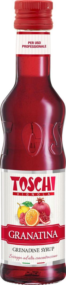 Toschi Гренадин сироп, 0,25 л0120710Гренадин Toschi отличается рубиновым цветом, ягодным вкусом с легкой кислинкой. Идеален для приготовления слоистых коктейлей, чая и лимонада.О производителе: Компания Тоски Виньола основана в 1945 году как поставщик продуктов питания.Деятельность компании началась с производства фруктов в ликере, далее ассортимент начал включать сиропы, ликеры, вишни в сиропе Amarena, ингредиенты для мороженого и кондитерских изделий, бальзамический уксус и многое другое. За 70 лет развития компания Тоски Виньола значительно расширила ассортимент выпускаемых продуктов. Благодаря высочайшему качеству и использованию натуральных ингредиентов продукция компании Тоски Виньола известна во всем мире. В 2006 году вся продукция Тоски Виньола получила сертификат IFS (Международный пищевой стандарт). Сегодня Тоски Виньола является семейной компанией, ей управляют Джорджио Монторси и Массимо Тоски, которые бережно хранят секреты семейного производства.