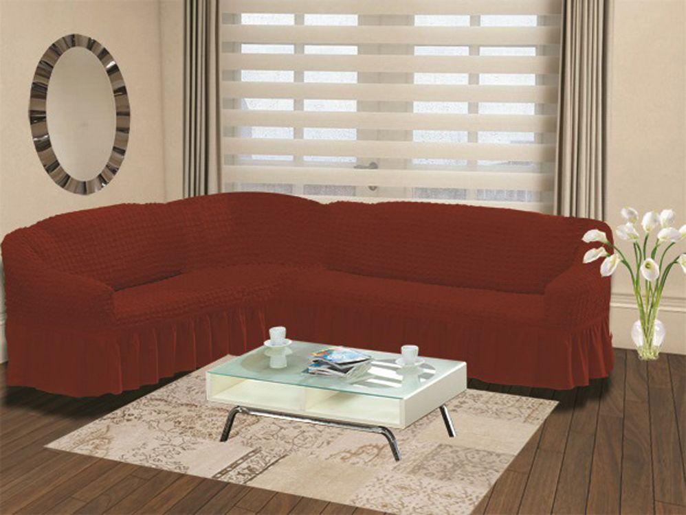 Чехол на угловой диван Karna Bulsan, универсальный. 2640/CHAR005300148_розовыйПодходит и на правосторонний и на левосторонний диван за счет того, что у него нет вшитой вставки в середине. Крепиться фиксаторами, которые не позволяют съезжать чехлу.