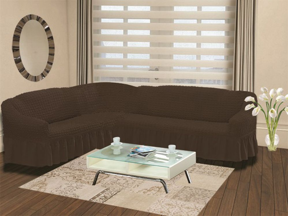 Чехол на угловой диван Karna Bulsan, универсальный. 2640/CHAR006THN132NПодходит и на правосторонний и на левосторонний диван за счет того, что у него нет вшитой вставки в середине. Крепиться фиксаторами, которые не позволяют съезжать чехлу.