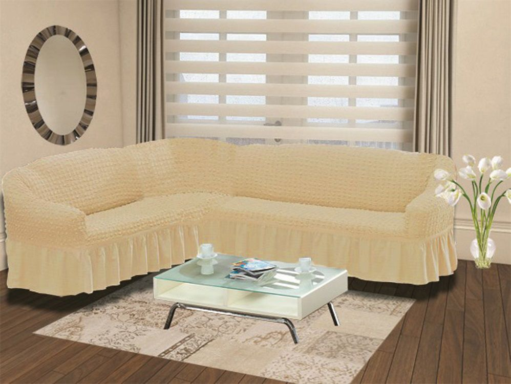 Чехол на угловой диван Karna Bulsan, универсальный. 2640/CHAR009THN132NПодходит и на правосторонний и на левосторонний диван за счет того, что у него нет вшитой вставки в середине. Крепиться фиксаторами, которые не позволяют съезжать чехлу.