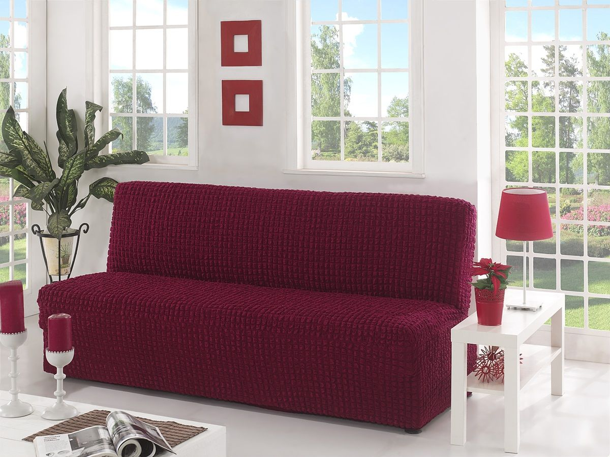 Чехол для трехместного дивана Karna, без подлокотников, без юбки, цвет: бордовый54 009312Чехол для дивана изготовлен на 60% из полиэстера и на 40% из хлопка.В комплект входят фиксаторы, позволяющие надежно закрепить чехол на мебели. Они вставляются в расстояние между спинкой и сиденьем, фиксируя чехол в одном положении, и не позволяют ему съезжать и терять форму. Фиксаторы особенно необходимы в том случае, если у вас кожаная мебель или мебель нестандартных габаритов. Ширина посадочных мест: 210-260 см.Глубина посадочных мест: 70-80 см.Высота спинки от посадочного места: 70-80 см.