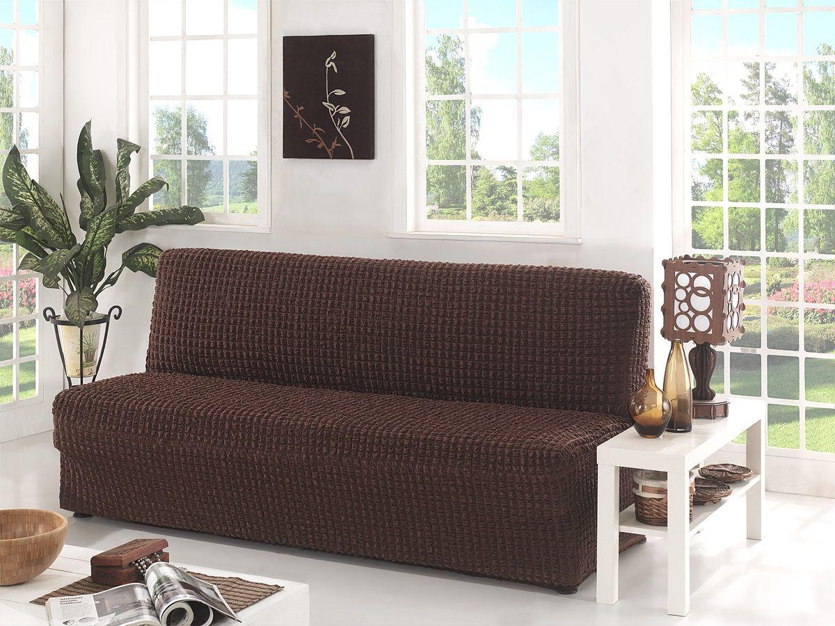 Чехол для трехместного дивана Karna, без подлокотников, без юбки, цвет: темно-коричневый54 009318Чехол для дивана Karna изготовлен на 60% из полиэстера и на 40% из хлопка.В комплект входят фиксаторы, позволяющие надежно закрепить чехол на мебели. Они вставляются в расстояние между спинкой и сиденьем, фиксируя чехол в одном положении, и не позволяют ему съезжать и терять форму. Фиксаторы особенно необходимы в том случае, если у вас кожаная мебель или мебель нестандартных габаритов. Ширина посадочных мест: 210-260 см.Глубина посадочных мест: 70-80 см.Высота спинки от посадочного места: 70-80 см.