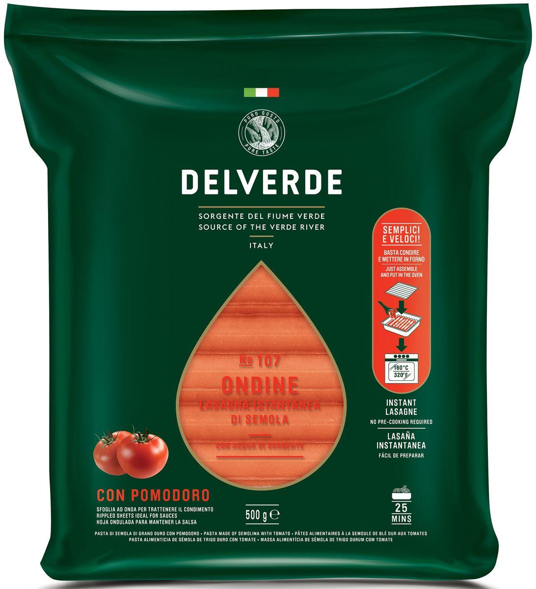 Delverde № 107 паста Ондине с томатом, 500 г6791Лазанья отлично сочетается с рагу по-неаполитански с сыром рикотта или с соусом из дичи. Рекомендуемый способ приготовления, запекание в духовке, с различным составом начинки и соусом Бешамель. Этот способ настолько признан по всей Италии, что принял название формы этой пасты. Способ приготовления: Продукт предварительно отварен, готов для приготовления лазаньи. Перед запеканием поместить в горячую воду на несколько минут. После чего поместите первый лист в форму и нанесите желаемую начинку. Вторую пластину положите перпендикулярно первой, так чтобы волны пересеклись под углом 90°. Продолжайте накладывать друг на друга пластины почти до полного заполнения формы. В конце добавьте немного бульона или воды из-под пасты, чтобы добавить блюду влажности в процессе приготовления. Закройте форму фольгой и выпекайте в духовке в течение 25 минут при температуре 160°C. За 10 минут до окончания выпекания удалите слой фольги, чтобы верхний слой стал золотистым. О производителе: Компания Delverde Industrie Alimentari S.p.a начала свою историю в середине XX века в Фаре, доведя до совершенства искусство традиционного производство пасты. Традиция изготовления пасты в историческом поселении Фара Сан Мартино известна по всему миру с XVII века: именно здесь производители впервые научились искусству смешивать зерна пшеницы с чистейшей водой реки Верде. Фара Сан Мартино до сих пор славится как одна из мировых столиц пасты. С самого начала миссией компании было производить и предлагать миру высококачественные продукты из высококачественных ингредиентов. Компания Delverde до сих пор работает в соответствии с наилучшими итальянскими гастрономическими и промышленными традициями. Для приготовления пасты Delverde используются только отборные, отлично сочетающиеся друг с другом ингредиенты: чистейшая вода из реки Верде и зерна самой качественной твердой пшеницы.Варить в кипящей подсоленной воде 10 минут.