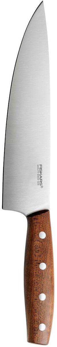 Нож поварской Fiskars Norr, длина лезвия 20 см881228Поварской нож Fiskars Norr применяется для нарезки, шинковки, измельчения любых продуктов. Оснащен ручкой из дерева Norvegian Kebony эргономичной формы для безопасного захвата. Вес ножа идеально распределен для удобства работы. Остроконечное лезвие выполнено из высококачественной немецкой нержавеющей стали. Упор для пальцев предотвращает порез руки.Твердость стали: 54 HRC.
