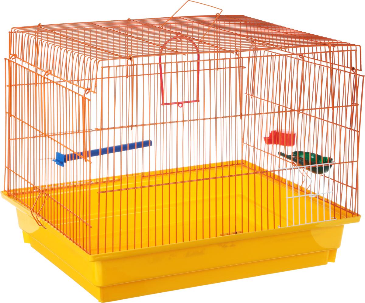 Клетка для птиц ЗооМарк, цвет: желтый поддон, оранжевая решетка, 50 х 31 х 41 см0120710Клетка ЗооМарк, выполненная из полипропилена и металла с эмалированным покрытием, предназначена для птиц.Изделие состоит из большого поддона и решетки. Клетка снабжена металлической дверцей. Она удобна в использовании и легко чистится. Клетка оснащена жердочкой, кольцом для птицы, поилкой, кормушкой и подвижной ручкой для удобной переноски.
