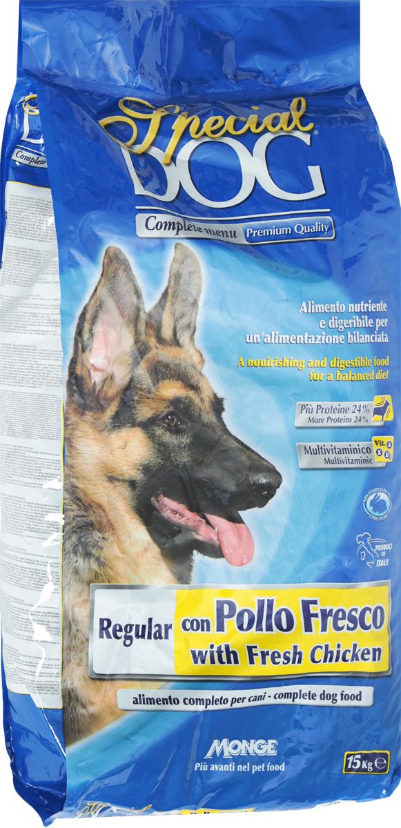 Корм сухой Monge Special Dog для собак, со свежей курицей, 15 кг0120710Корм для собак Monge Special Dog со свежей курицей - это полнорационное питание, подходящее для ежедневного кормления взрослых животных с нормальной физической активностью. Питательный и легкоусваиваемый. Имеет оптимальную энергетическую ценность и правильное соотношение белков и углеводов. Содержит A-D-E мультивитаминный комплекс. Сбалансированные Омега-3 и Омега-6 жирные кислоты необходимы для поддержания здоровья кожи и шерсти. Корм произведен из качественного отборного мяса. Содержит ФОС (фруктоолигосахариды), регулирующие состояние кишечной микрофлоры собаки. Юкка шидигера уменьшает запах фекалий.Товар сертифицирован.