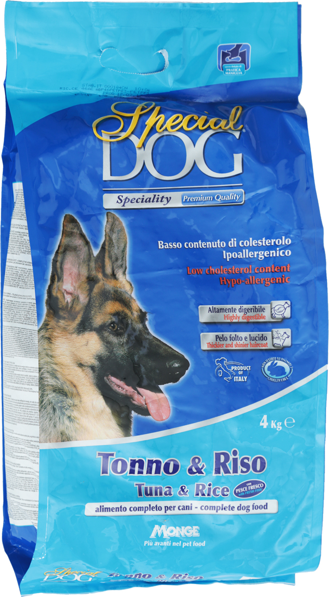Корм сухой Monge Special Dog для собак с чувствительной кожей и пищеварением, с тунцом и рисом, 4 кг0312Monge Special Dog - это гипоаллергенное полнорационное питание для взрослых собак всех пород с чувствительной кожей (дерматозис, перхоть, зуд) и пищеварением, а также со светлой шерстью. Содержит качественный полноценный белок, удовлетворяющий потребность собак в энергии. Корм питателен, легко усваивается. Низкое содержание холестерина. В состав входит экструдированный рис - источник легко усваиваемых углеводов, что позволяет предупредить возникновение проблем с пищеварительным трактом собаки. Содержит ФОС (фруктоолигосахариды), регулирующие состояние кишечной микрофлоры собаки. Юкка шидигера уменьшает запах фекалий. Сбалансированные Омега-3 и Омега-6 жирные кислоты необходимы для поддержания здоровья кожи и шерсти.Товар сертифицирован.