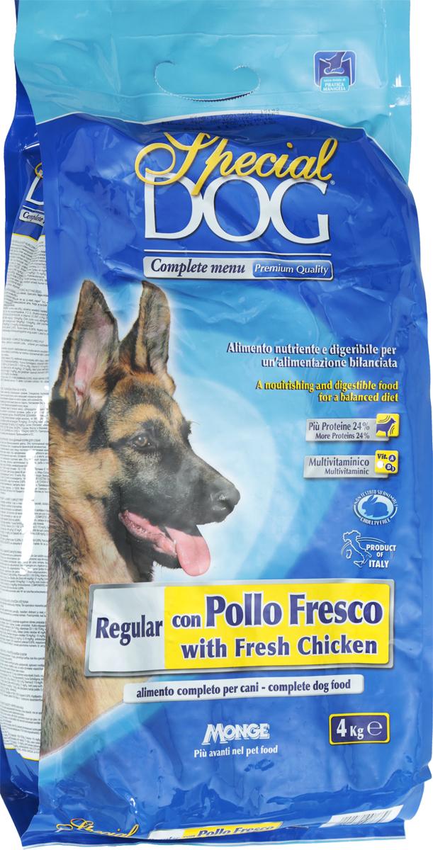 Корм сухой Monge Special Dog для собак, со свежей курицей, 4 кг0402Корм для собак Monge Special Dog со свежей курицей - это полнорационное питание, подходящее для ежедневного кормления взрослых животных с нормальной физической активностью. Питательный и легкоусваиваемый. Имеет оптимальную энергетическую ценность и правильное соотношение белков и углеводов. Содержит A-D-E мультивитаминный комплекс. Сбалансированные Омега-3 и Омега-6 жирные кислоты необходимы для поддержания здоровья кожи и шерсти. Корм произведен из качественного отборного мяса. Содержит ФОС (фруктоолигосахариды), регулирующие состояние кишечной микрофлоры собаки. Юкка шидигера уменьшает запах фекалий.Товар сертифицирован.
