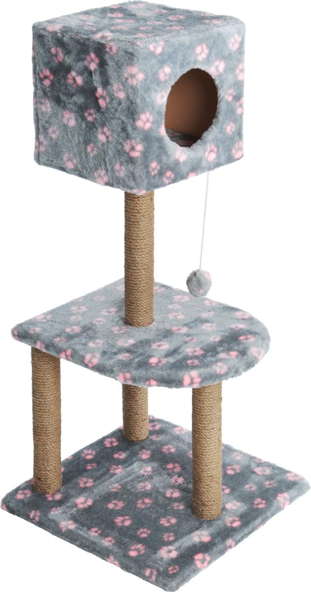 Домик-когтеточка Меридиан Квадратный, 3-ярусный, с игрушкой, цвет: серый, розовый, бежевый, 51 х 51 х 105 см22100-2Домик-когтеточка Меридиан Квадратный выполнен из высококачественного ДВП и ДСП и обтянут искусственным мехом. Изделие предназначено для кошек. Комплекс имеет 3 яруса. Ваш домашний питомец будет с удовольствием точить когти о специальные столбики, изготовленные из джута. А отдохнуть он сможет либо на полках, либо в расположенном вверху домике. Изделие снабжено подвесной игрушкой. Домик-когтеточка Меридиан Квадратный принесет пользу не только вашему питомцу, но и вам, так как он сохранит мебель от когтей и шерсти.Общий размер: 51 х 51 х 105 см.Размер домика: 31 х 31 х 31 см.