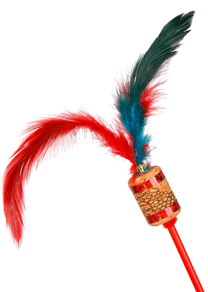 Игрушка-дразнилка для кошек GLG Джин, цвет: мультиколор, длина 60 см0120710Игрушка для кошек Дразнилка-удочка Джин, длина палочки 60 см, материал- палочка пластик, пробка. Перья.