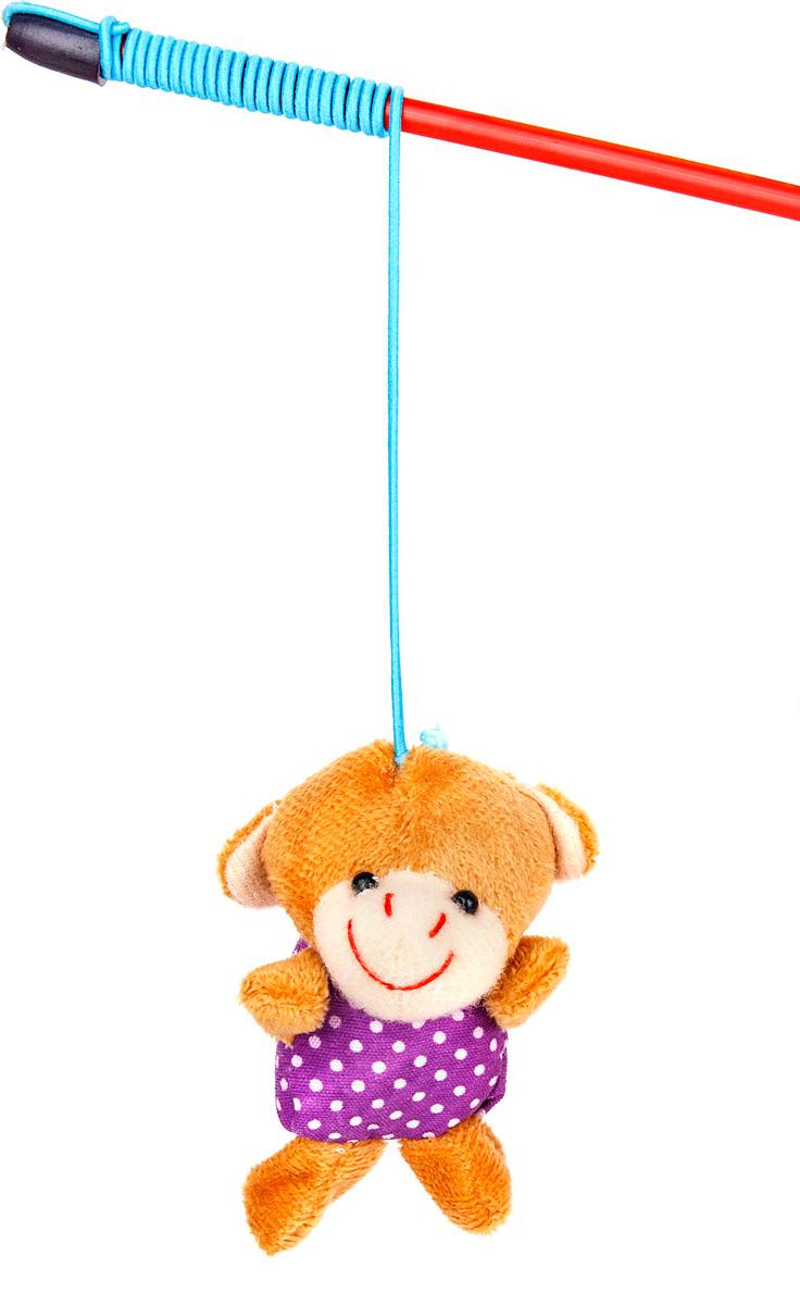 Игрушка-дразнилка для кошек GLG Мишка, цвет: мультиколор, длина 60 см0120710Игрушка для кошек Дразнилка-удочка Мишка, 5см, длина палочки 60 см, материал- палочка пластик, игрушка плюш.