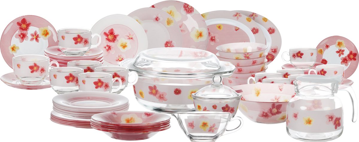 Набор столовой посуды Luminarc Poeme Rose, 58 предметовFS-91909Набор столовой посуды Luminarc Poeme Rose - это не только яркий и полезный подарок для родных и близких, а также великолепное дизайнерское решение для вашей кухни или столовой. В набор входит:- тарелка обеденная: 6 шт;- тарелка десертная: 6 шт;- тарелка суповая: 6 шт;- салатник большой;- салатник малый: 6 шт;- блюдо овальное: 2 шт;- кастрюля с крышкой;- чашка чайная: 6 шт;- блюдце: 6 шт;- чашка кофейная: 6 шт;- блюдце: 6 шт;- кофейник с крышкой;- сахарница с крышкой, - соусник.Предметы набора, выполненные из ударопрочного стекла, имеют яркий дизайн с изящным цветочным рисунком. Посуда отличается прочностью, гигиеничностью и долгим сроком службы, она устойчива к появлению царапин и резким перепадам температур. Набор столовой посуды Luminarc Poeme Rose прекрасно подойдет как для повседневного использования, так и для праздников или особенных случаев. Диаметр суповой тарелки (по верхнему краю): 21,5 см. Высота суповой тарелки: 3 см.Диаметр обеденной тарелки (по верхнему краю): 24,5 см. Высота обеденной тарелки: 1,7 см. Диаметр десертной тарелки (по верхнему краю): 19,5 см. Высота десертной тарелки: 1,7 см. Диаметр большого салатника (по верхнему краю): 27 см. Высота большого салатника: 8,5 см. Диаметр малого салатника (по верхнему краю): 12 см. Высота малого салатника: 5,2 см. Диаметр кастрюли (по верхнему краю): 21,5 см. Длина кастрюли (с учетом ручек): 26,2 см. Высота кастрюли (без учета крышки): 9,5 см. Объем кастрюли: 2,5 л. Размер овального блюда: 34,5 х 25,5 х 2,5 см. Размер кофейника (с учетом крышки): 17 см х 13,5 см х 15,5 см. Объем кофейника: 1,4 л. Размер сахарницы (без учета крышки): 12 см х 12 см х 6,5 см. Объем сахарницы: 350 мл. Размер соусника (с учетом ручки): 15,7 см 8 см х 6,5 см. Объем соусника: 160 мл. Диаметр кофейной чашки (по верхнему краю): 6,5 см. Высота кофейной чашки: 5,2 см. Объем кофейной чашки: 90 мл. Диаметр блюдца (по верхнему краю): 11,5 см. Высота блюдца: 1,6 см. Диаметр ч