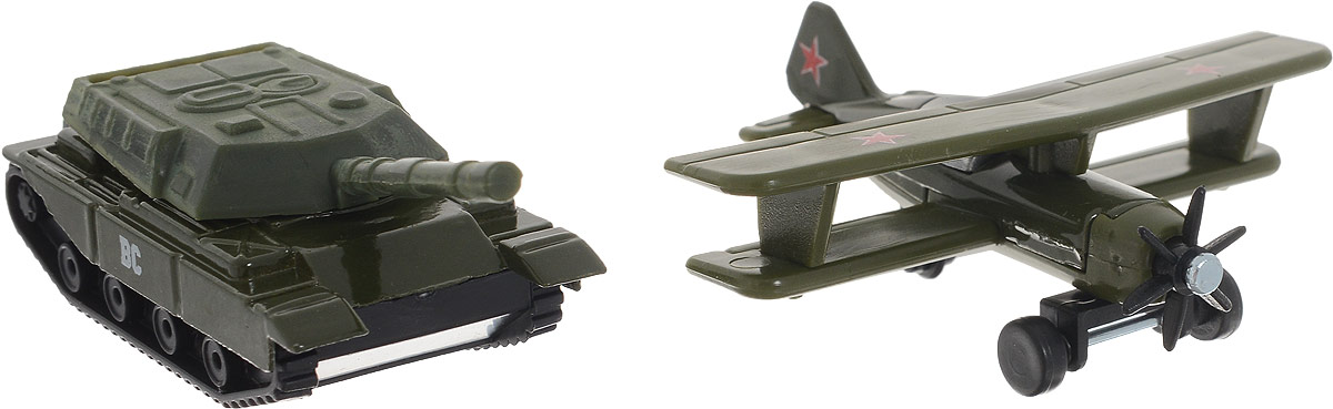 ТехноПарк Набор машинок Военная техника цвет темно-зеленый 2 шт машинки технопарк набор из 2 х металлических моделей технопарк военная техника