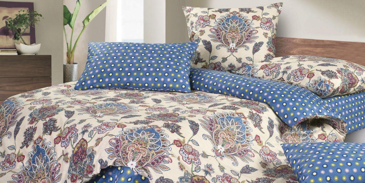 Комплект белья Ecotex Сюссан, 1,5-спальный, наволочки 70х70, цвет: синий, бежевыйКГ1Комплект постельного белья Ecotex выполнен из сатина (100% хлопок). Комплект состоит из пододеяльника, простыни и 2 наволочек. Белье дополнено красивыми узорами и принтом в горошек. Постельное белье из коллекции Гармоника - это уникальное сочетание мягкости и нежности благородного сатина со свежестью дизайнерских решений. Коллекция рассчитана на взыскательных потребителей, ценящих стиль, оригинальный дизайн, а также собственный комфорт и нежное прикосновение ткани.