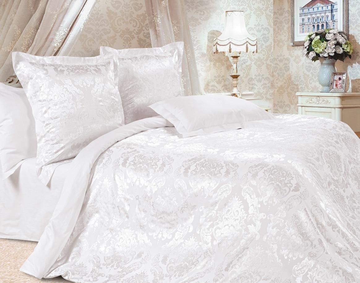 Комплект постельного белья Ecotex Эстетика Бриллиант, цвет: белый. Семейный391602Изысканная коллекция Estetica из жаккардового сатина — это утонченное удовольствие, рожденное неповторимым сочетанием перламутрового блеска и матовой сдержанности.