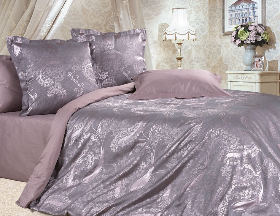 Комплект постельного белья Ecotex Эстетика Виктория, цвет: розовый. СемейныйSVC-300Изысканная коллекция Estetica из жаккардового сатина — это утонченное удовольствие, рожденное неповторимым сочетанием перламутрового блеска и матовой сдержанности.