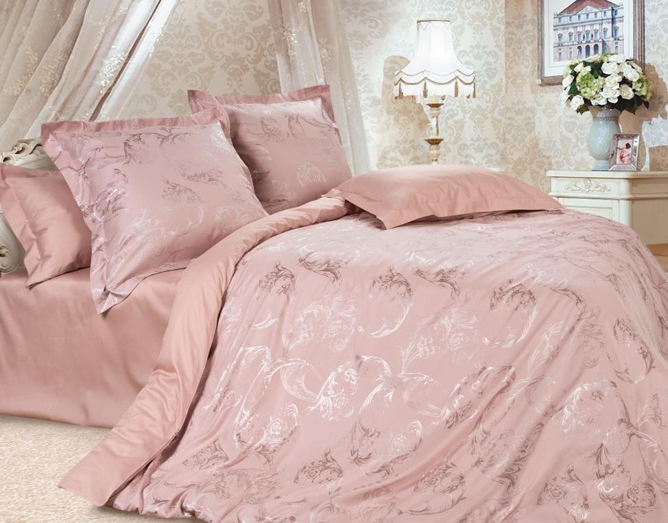 Комплект постельного белья Ecotex Эстетика Джульетта, цвет: розовый. Семейный391602Изысканная коллекция Estetica из жаккардового сатина — это утонченное удовольствие, рожденное неповторимым сочетанием перламутрового блеска и матовой сдержанности.