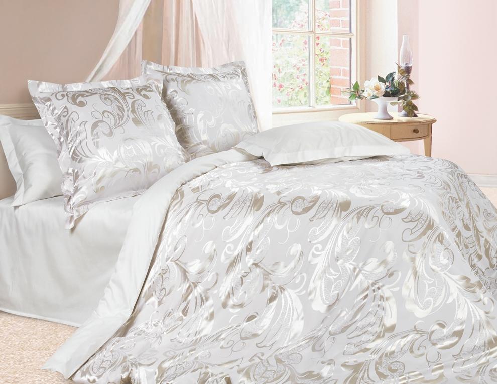Комплект постельного белья Ecotex Эстетика Джорджия, цвет: серо-белый. Евро391602Изысканная коллекция Estetica из жаккардового сатина — это утонченное удовольствие, рожденное неповторимым сочетанием перламутрового блеска и матовой сдержанности.