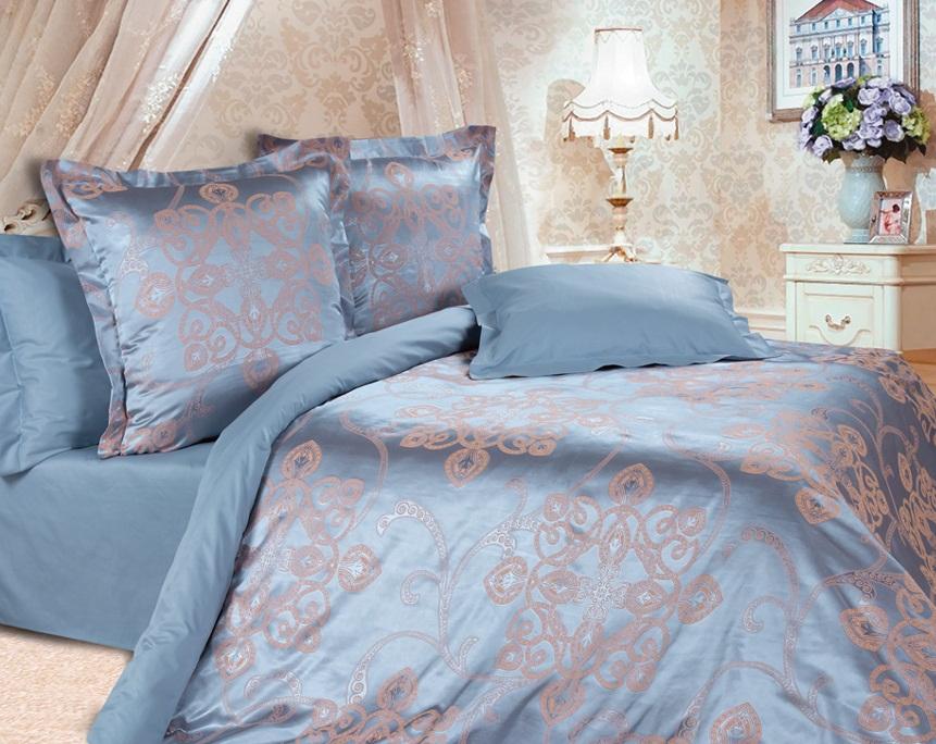 Комплект постельного белья Ecotex Эстетика Борнео, цвет: синий. Семейный391602Изысканная коллекция Estetica из жаккардового сатина — это утонченное удовольствие, рожденное неповторимым сочетанием перламутрового блеска и матовой сдержанности.
