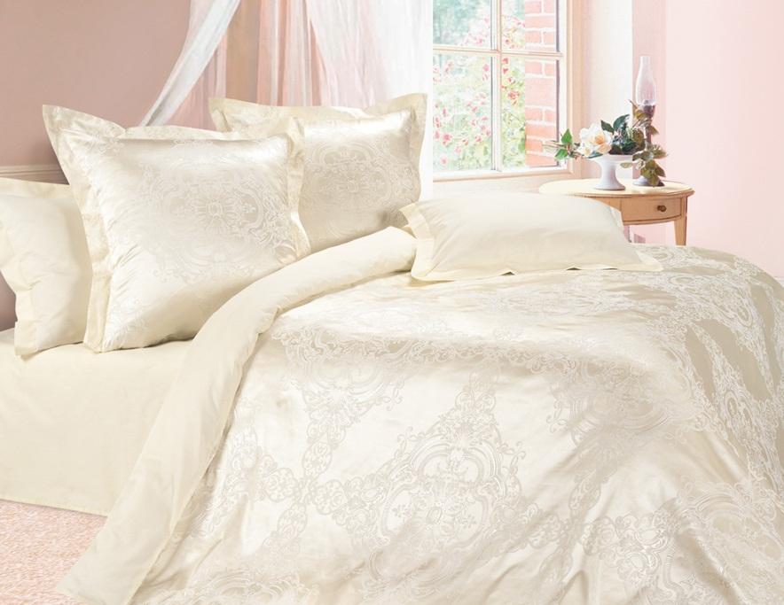 Комплект постельного белья Ecotex Эстетика Нимфа, цвет: слоновая кость. Евро391602Изысканная коллекция Estetica из жаккардового сатина — это утонченное удовольствие, рожденное неповторимым сочетанием перламутрового блеска и матовой сдержанности.
