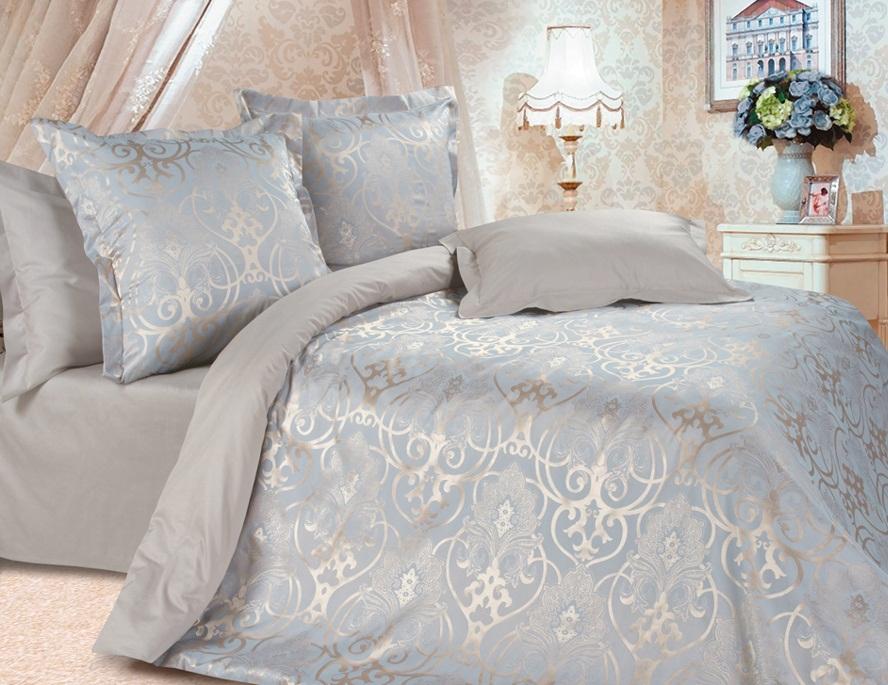 Комплект постельного белья Ecotex Эстетика Глейс, цвет: серый металлик. Евро391602Изысканная коллекция Estetica из жаккардового сатина — это утонченное удовольствие, рожденное неповторимым сочетанием перламутрового блеска и матовой сдержанности.