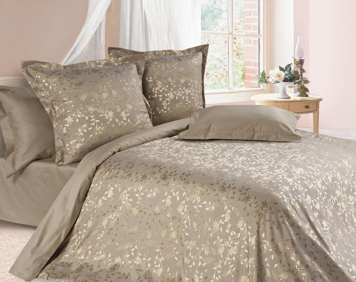 Комплект постельного белья Ecotex Эстетика Брианза, цвет: темно-бежевый. Евро10503Изысканная коллекция Estetica из жаккардового сатина — это утонченное удовольствие, рожденное неповторимым сочетанием перламутрового блеска и матовой сдержанности.