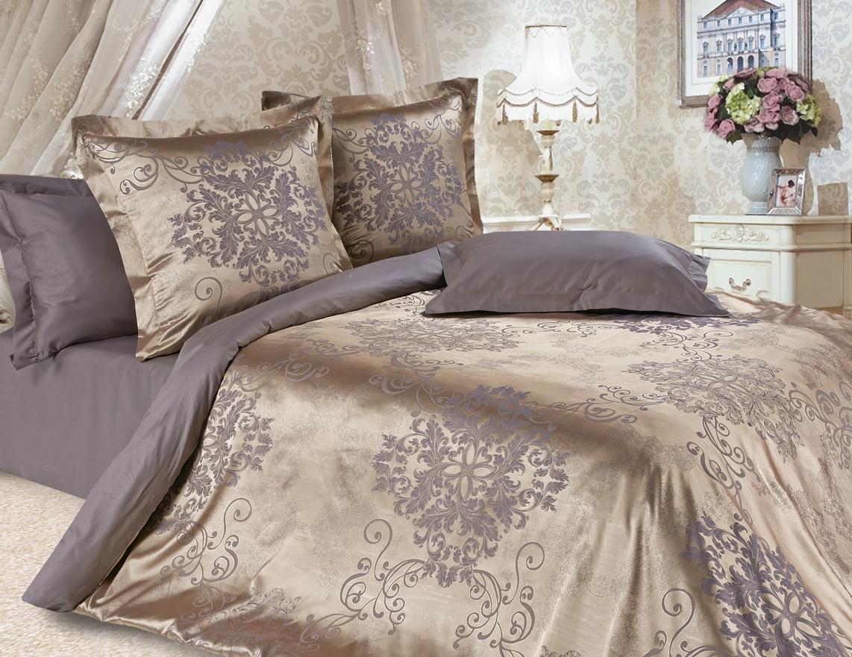 Комплект постельного белья Ecotex Эстетика Карингтон, цвет: коричневый. Семейный391602Изысканная коллекция Estetica из жаккардового сатина — это утонченное удовольствие, рожденное неповторимым сочетанием перламутрового блеска и матовой сдержанности.