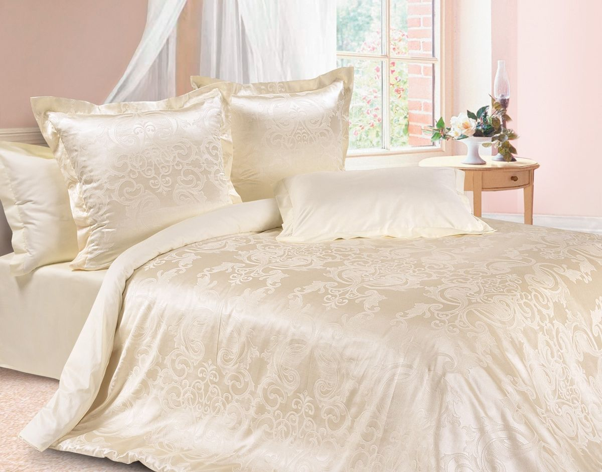 Комплект постельного белья Ecotex Эстетика Грация, цвет: слоновая кость. ЕвроVCA-00Изысканная коллекция Estetica из жаккардового сатина — это утонченное удовольствие, рожденное неповторимым сочетанием перламутрового блеска и матовой сдержанности.